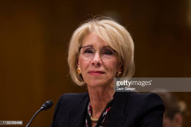 S Secretary of Education Betsy DeVos testifies during a Senate Labor Health and Human Services Education and Related Agencies Subcommittee discussing...