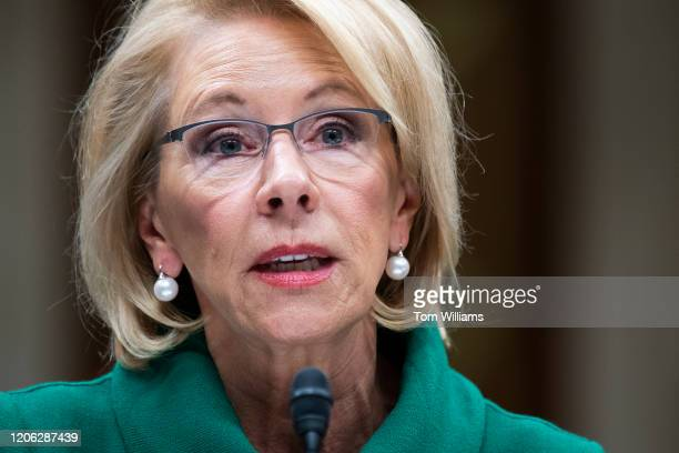 Secretary of Education Betsy DeVos testifies during the Senate Appropriations Labor Health and Human Services Education and Related Agencies...