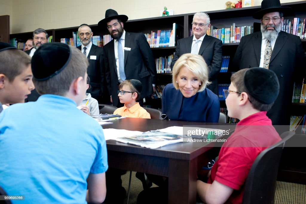 U.S. Secretary of Education Betsy DeVos visits a yeshiva, the Darchei Torah Boys School, on May 16, 2018 in the Far Rockaway neighborhood of the Queens borough in New York City. She toured several classrooms but did not speak to the media covering her visit.