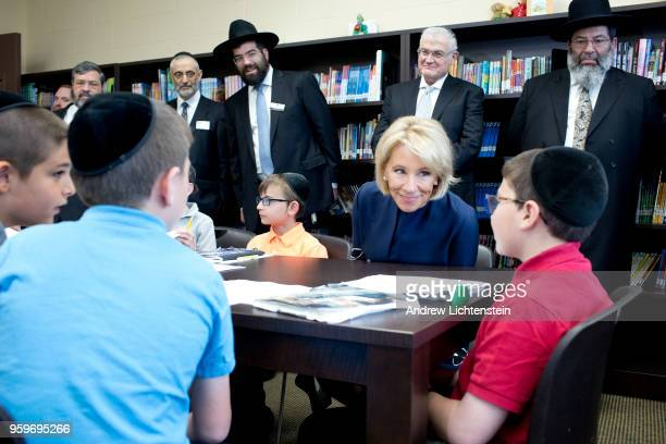 S Secretary of Education Betsy DeVos visits a yeshiva the Darchei Torah Boys School on May 16 2018 in the Far Rockaway neighborhood of the Queens...