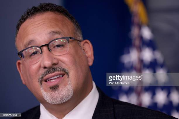 Secretary of Education Dr. Miguel Cardona answers questions during the daily briefing at the White House August 5, 2021 in Washington, DC. Cardona...
