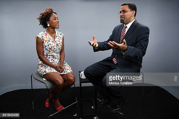 US Secretary Of Education John King speaks with Maya PopeChappell when he Visits LinkedIn For Interview With Maya PopeChappell at LinkedIn Studios on...