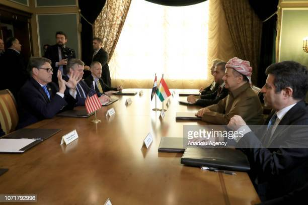 Secretary of Energy Rick Perry and Former leader of the Iraqi Kurdish Regional Government Masoud Barzani attend an interdelegations meeting in Erbil...
