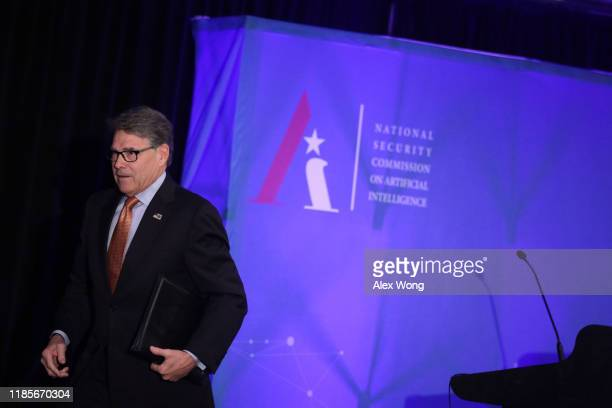 S Secretary of Energy Rick Perry leaves after he spoke at a National Security Commission on Artificial Intelligence conference November 5 2019 in...