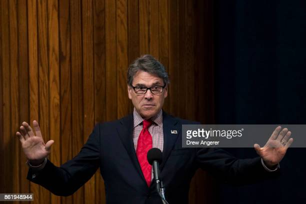 S Secretary of Energy Rick Perry speaks at the Energy Policy Summit at the National Press Club October 16 2017 in Washington DC The event was...