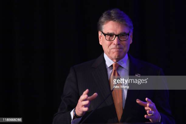 S Secretary of Energy Rick Perry speaks during a National Security Commission on Artificial Intelligence conference November 5 2019 in Washington DC...