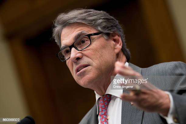S Secretary of Energy Rick Perry testifies during a House Energy and Commerce Committee hearing on Capitol Hill October 12 2017 in Washington DC The...