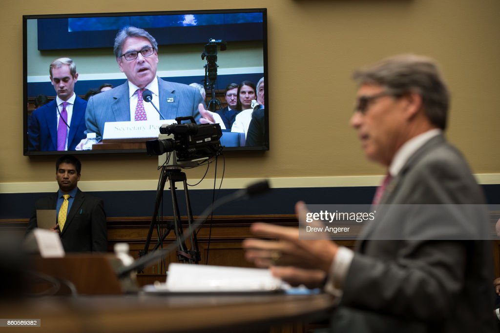 U.S. Secretary of Energy Rick Perry testifies during a House Energy and Commerce Committee hearing on Capitol Hill, October 12, 2017 in Washington, DC. The hearing focused on the U.S. Department of Energy's missions and management priorities.