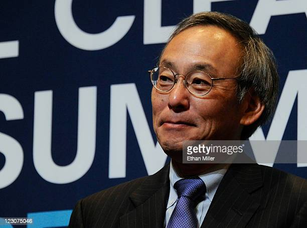 S Secretary of Energy Steven Chu attends a news conference announcing the beginning of construction for a 24 megawatt solar photovoltaic project at...