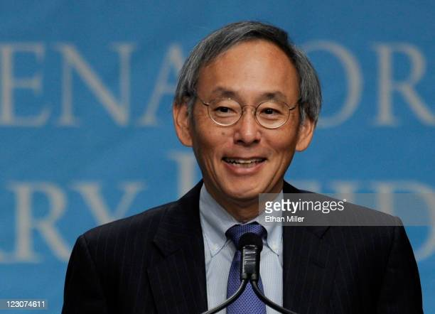 S Secretary of Energy Steven Chu speaks during the National Clean Energy Summit 40 at the Aria Resort Casino at CityCenter August 30 2011 in Las...