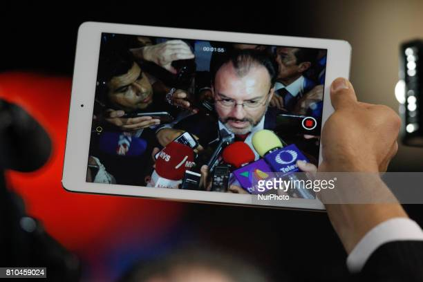 Secretary of Foreign Affairs for Mexico Luis Videgaray Caso speaks to the press at the G20 summit in Hamburg Germany on 7 July 2017 Mister Videgaray...