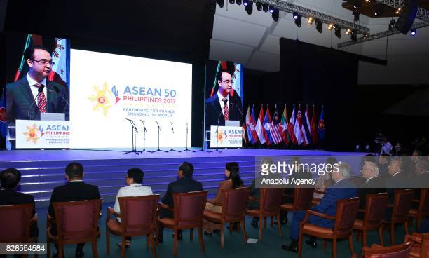 Secretary of Foreign Affairs of Philippines Alan Peter Cayetano makes opening the speech of the 50th Association of Southeast Asian Nations Foreign...