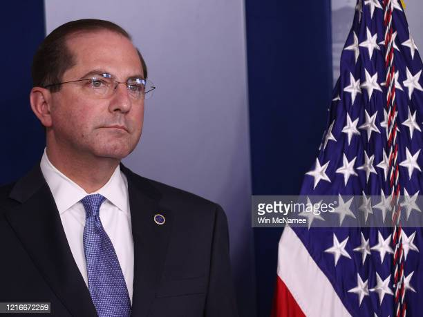 Secretary of Health and Human Services, Alex Azar, attends the White House Coronavirus Task Force briefing April 3, 2020 in Washington, DC. President...