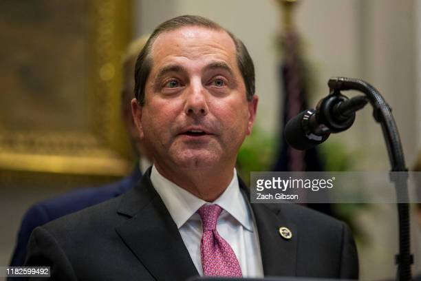 Secretary of Health and Human Services Alex Azar delivers remarks in the Roosevelt Room at the White House on November 15, 2019 in Washington, DC....