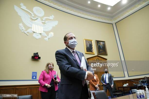 Secretary of Health and Human Services Alex Azar departs after testifying before the House Select Subcommittee on the Coronavirus Crisis, on Capitol...