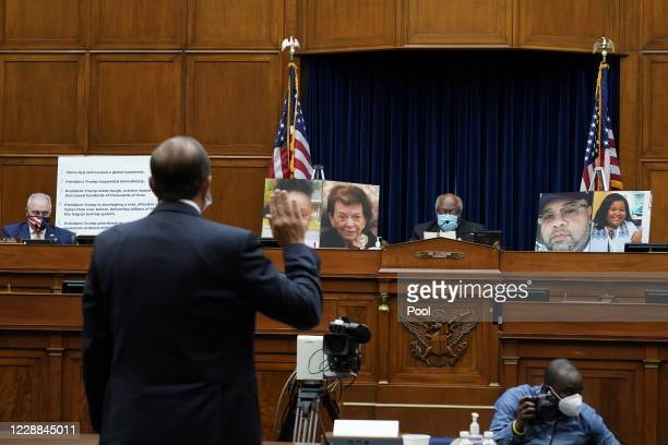 Secretary of Health and Human Services Alex Azar is sworn in before the House Select Subcommittee on the Coronavirus Crisis, on Capitol Hill on...