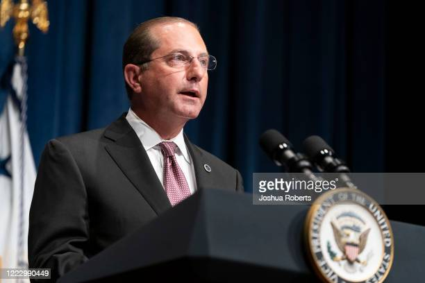 Secretary of Health and Human Services Alex Azar speaks after a White House Coronavirus Task Force briefing at the Department of Health and Human...