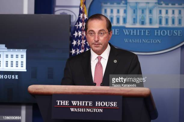 Secretary of Health and Human Services Alex Azar speaks during a White House Coronavirus Task Force press briefing in the James Brady Press Briefing...