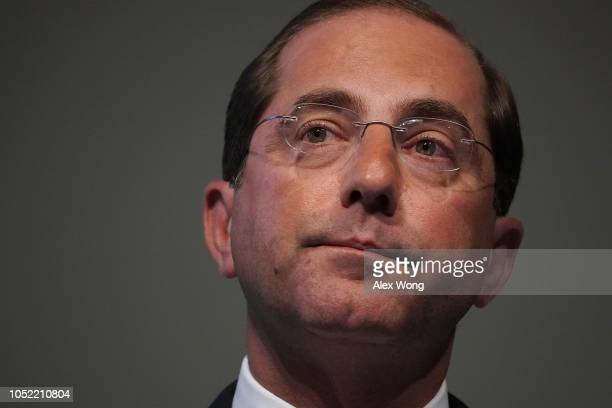 S Secretary of Health and Human Services Alex Azar speaks on prescription drugs for the market during the 2018 National Academy of Medicine Annual...