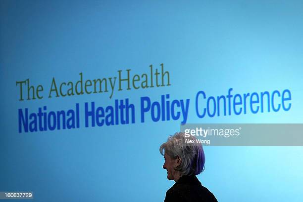 S Secretary of Health and Human Services Kathleen Sebelius leaves after she spoke during the opening plenary of the National Health Policy Conference...