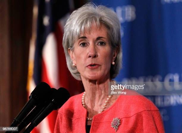 Secretary of Health and Human Services Kathleen Sebelius speaks during a National Press Club Newsmaker Luncheon April 6, 2010 in Washington, DC....