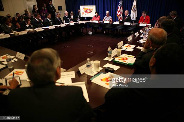 Secretary of Health and Human Services Kathleen Sebelius speaks as US Vice President Joseph Biden and other cabinet members listen during a cabinet...
