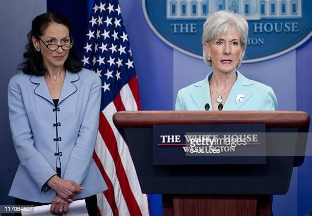US Secretary of Health and Human Services Kathleen Sebelius speaks alongside Food and Drug Administration Commissioner Margaret Hamburg during the...
