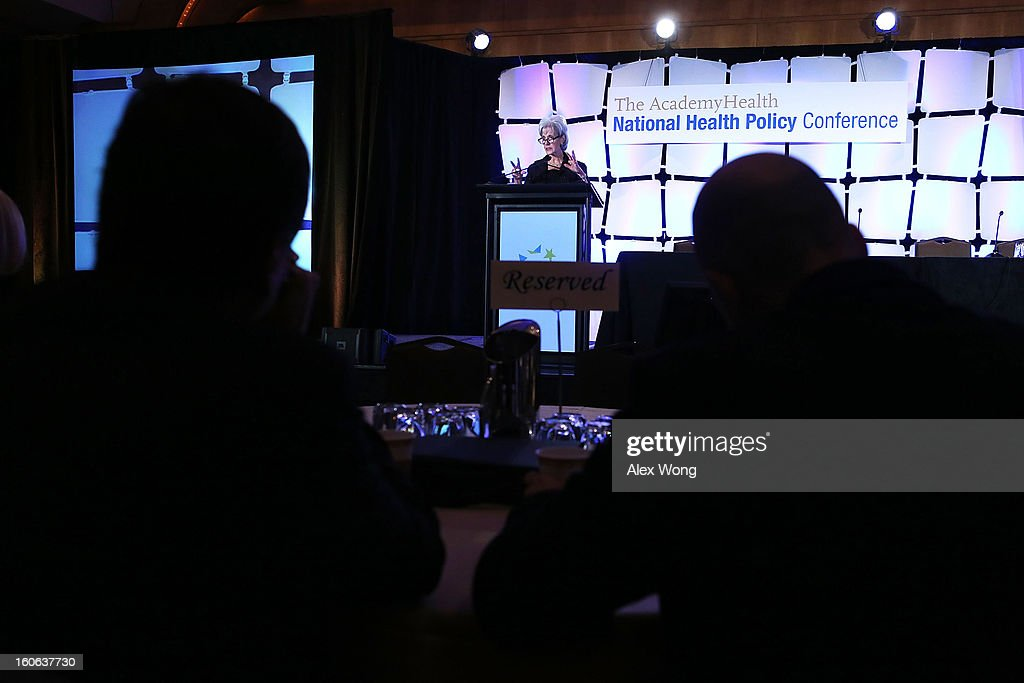 U.S. Secretary of Health and Human Services Kathleen Sebelius speaks during the opening plenary of the National Health Policy Conference organized by The AcademyHealth February 4, 2013 in Washington, DC. Sebelius spoke on the Obama Administration's health policy priorities.