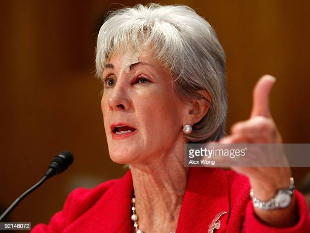S Secretary of Health and Human Services Kathleen Sebelius testifies during a hearing before the Senate Homeland Security and Governmental Affairs...