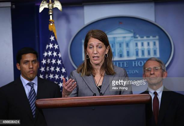 S Secretary of Health and Human Services Sylvia Burwell speaks as Director of the National Institute of Allergy and Infectious Diseases at the...