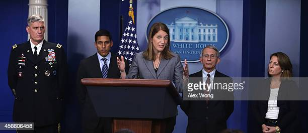 S Secretary of Health and Human Services Sylvia Burwell speaks as Assistant to US President Obama for Homeland Security and Counterterrorism Lisa...