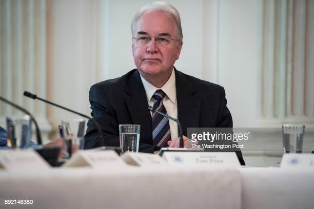 Secretary of Health and Human Services Tom Price attends an Opioid roundtable discussion held in the State Dining Room at the White House in...