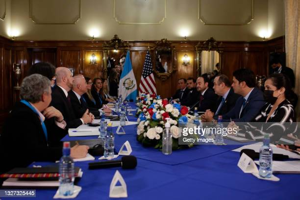 Secretary of Homeland Security Alejandro Mayorkas meets Guatemalan President Alejandro Giammattei on July 06, 2021 in Guatemala City, Guatemala. The...