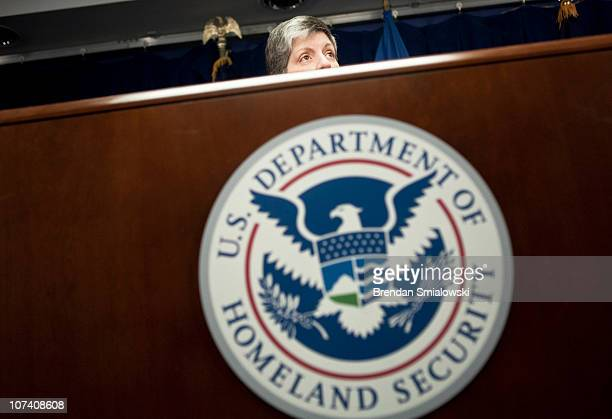 Secretary of Homeland Security Janet A Napolitano speaks during a news conference to discuss the If You See Something Say Something campaign at the...