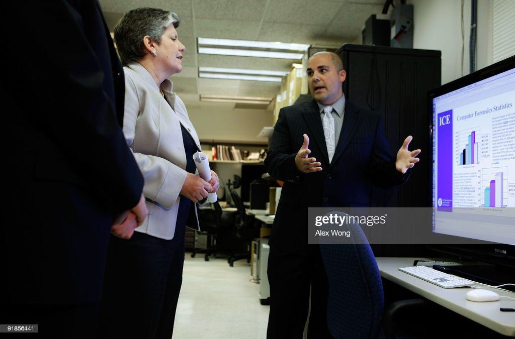 U.S. Secretary of Homeland Security Janet Napolitano (L) listens to Section Chief for Computer Forensic Christopher Landi's (R) introduction during her visit to the Cyber Crimes Center of the U.S. Immigration and Customs Enforcement October 13, 2009 in Fairfax, Virginia. The Cyber Crime Center, which is formed with the Child Exploitation Section, the Computer Forensics Section and the Cyber Crimes Section, focus on investigating criminal activities occur on or facilitated by the Internet. It also offers training to local, federal, and international law enforcement agencies.