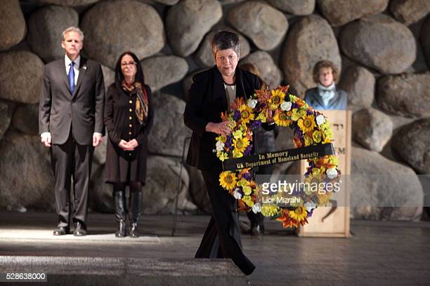 US Secretary of Homeland Security Janet Napolitano places a wreath at the Hall of Remembrance during her visit to the Yad Vashem Holocaust Memorial...