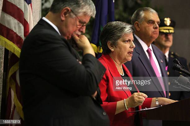 S Secretary of Homeland Security Janet Napolitano speaks as Secretary of Transportation Ray LaHood and Amtrak President and CEO Joseph Boardman...