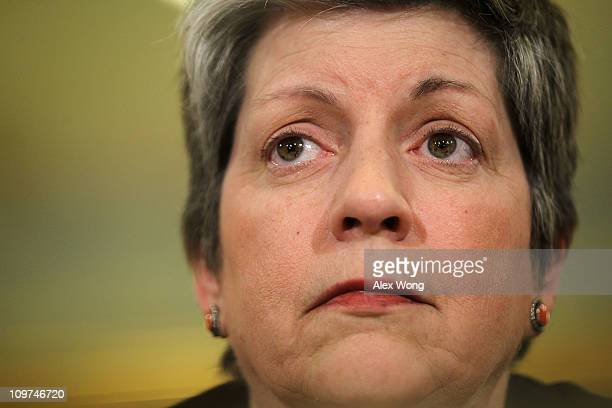 S Secretary of Homeland Security Janet Napolitano testifies during a hearing before the House Homeland Security Committee March 3 2011 on Capitol...