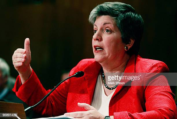 S Secretary of Homeland Security Janet Napolitano testifies during a Senate Homeland Security and Governmental Affairs Committee hearing on Capitol...