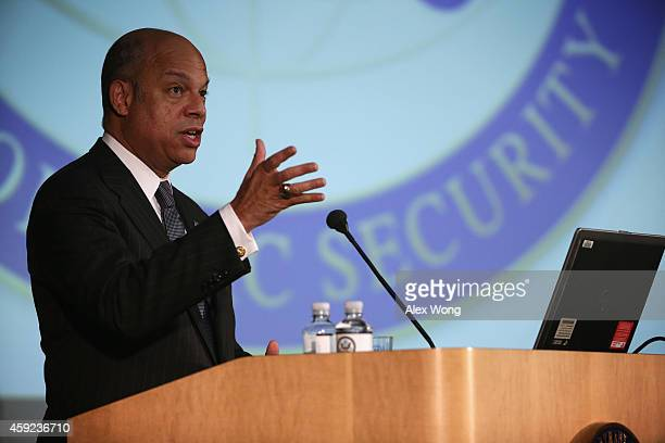 S Secretary of Homeland Security Jeh Johnson addresses the Overseas Security Advisory Council's 29th Annual Briefing November 19 2014 at the State...