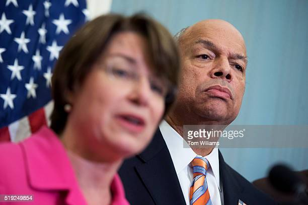 Secretary of Homeland Security Jeh Johnson and Sen Amy Klobuchar DMinn conduct a news conference in the Capitol on airport security April 2016 They...