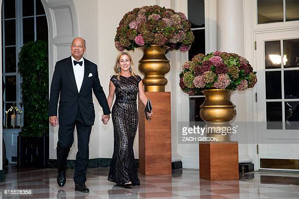 US Secretary of Homeland Security Jeh Johnson and Susan DiMarco arrive for a State Dinner in honor of Italian Prime Minister Matteo Renzi and his...