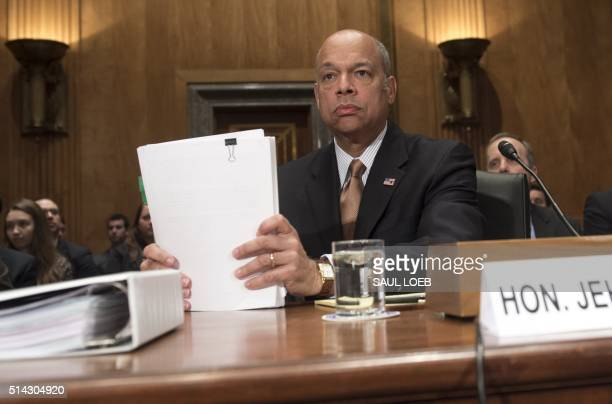 US Secretary of Homeland Security Jeh Johnson arrives to testify about the Fiscal Year 2017 budget during a Senate Homeland Security and Governmental...
