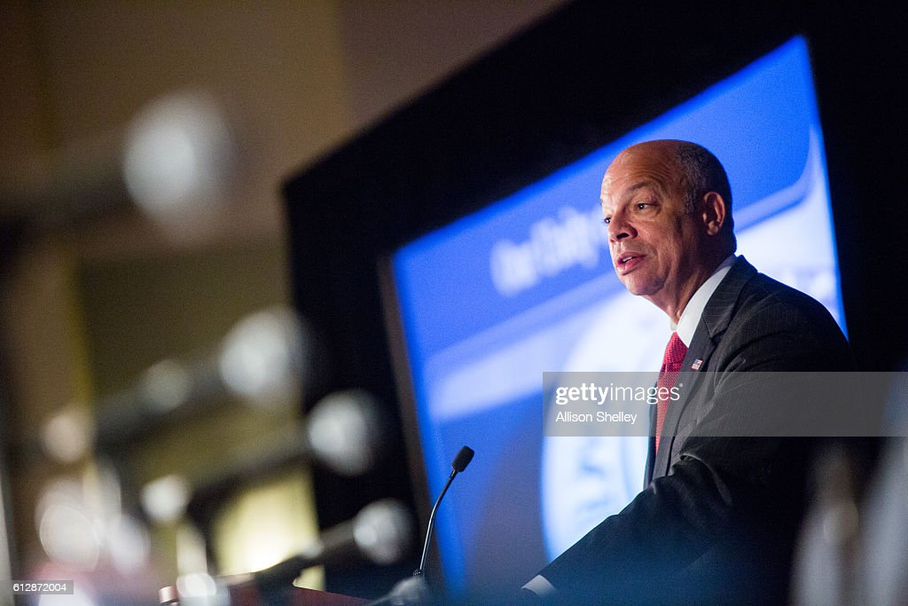 Secretary of Homeland Security Jeh Johnson speaks during the Association of U.S. Army Annual Meeting on October 5, 2016, in Washington, D.C. Johnson addressed homeland defence and security during the annual meeting and exposition, the largest military professional development forum in North America.
