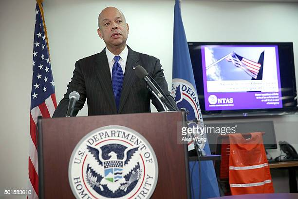 S Secretary of Homeland Security Jeh Johnson speaks to members of the media at the National Response Coordination Center at FEMA Headquarters...