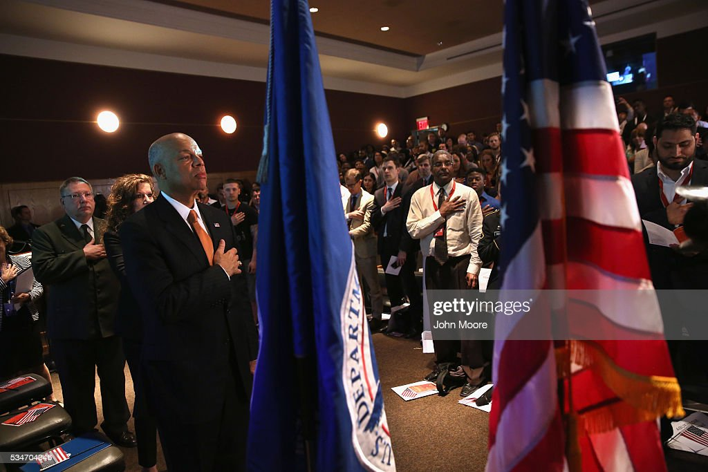 Jeh Johnson Attends Naturalization Ceremony At New York's Ellis Island