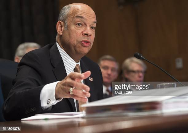 US Secretary of Homeland Security Jeh Johnson testifies about the Fiscal Year 2017 budget during a Senate Homeland Security and Governmental Affairs...