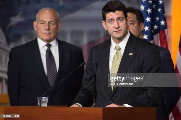 US Secretary of Homeland Security John Kelly and Speaker of the House Paul Ryan speak about immigration enforcement legislation during a press...
