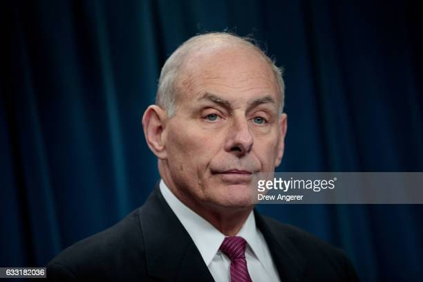 Secretary of Homeland Security John Kelly answers questions during a press conference related to President Donald Trump's recent executive order...
