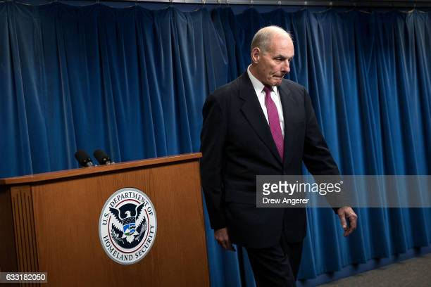 Secretary of Homeland Security John Kelly leaves the podium during a press conference related to President Donald Trump's recent executive order...